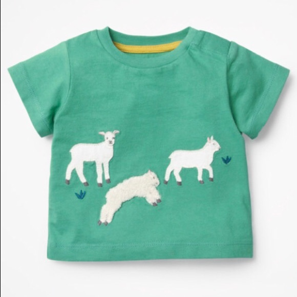Mini Boden sheep goat farm appliqué t-shirt, 18-24